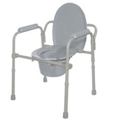 Folding Bedside Commode with Bucket and Splash Guard