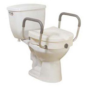"Drive Medical 12008KDR Raised Toilet Seat with Removable Padded Arms, 5""H Seat"