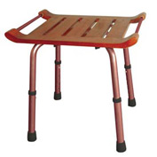 Adjustable Height Teak Bath Bench Stool, Rectangular Seat