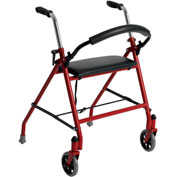 Drive Medical 1239RD Two Wheeled Walker with Seat, Red