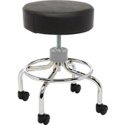 "Deluxe Wheeled Round Stool, 14"" Seat, 17.5"" - 24"" Adjustable Height"