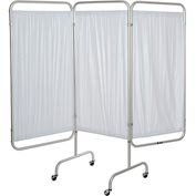 "Drive Medical 13508 3-Panel Patient Privacy Screen, White Vinyl Panels and 1"" Dia. Aluminum Tubing"