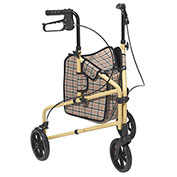 Winnie Lite Supreme Aluminum Three Wheel Rollator, Tan Plaid