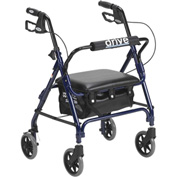 Drive Medical Junior Rollator with Padded Seat 301PSBN, Blue
