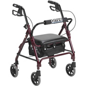 Drive Medical Junior Rollator with Padded Seat 301PSRN, Red