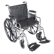 "20"" Chrome Sport Wheelchair, Detachable Desk Arm, Swing-away Footrests"