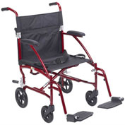 Fly-Lite Aluminum Transport Chair, Burgundy Frame, Black Upholstery