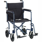 "Fly-Weight Aluminum Transport Chair, Blue Frame and Black Upholstery, 19"" Seat Width"
