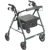 Aluminum Rollator, Fold Up and Removable Back Support, Padded Seat, Green