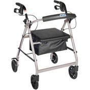 Aluminum Rollator, Fold Up and Removable Back Support, Padded Seat, Silver