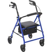 "Drive Medical R800BL Steel Rollator with 6"" Casters, Blue"