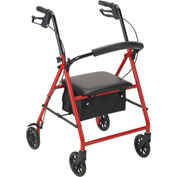 "Drive Medical R800RD Steel Rollator with 6"" Casters, Red"