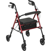 "Adjustable Height Rollator with 6"" Casters, Red"
