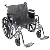 "20"" Sentra Extra Heavy Duty Wheelchair, Detachable Full Arm, Swing-away Footrests"