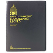 "Dome® Weekly Bookkeeping Record, 8-3/4"" x 11-1/4"", Black Vinyl Cover"