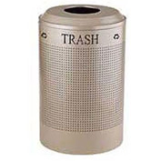 Rubbermaid® Silhouette DRR24T Recycling Receptacle w/Trash Opening, 26 Gallon - Desert Pearl