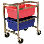 "DC Tech Dual Tote Cart DL101007, Knock Down, Stainless Steel , 24-1/2""L x 18-1/4""W x 31""H, No Totes"