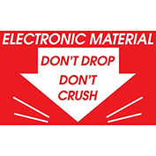 "Electronic Material Don't Drop 3"" x 3"" - Red / White"