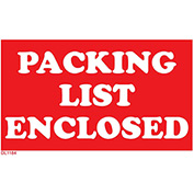 "3"" x 5"" Packing List Enclosed - Red / White"