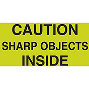 "Caution Sharp Objects 3"" x 5"" - Fluorescent Green / Black"