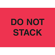 "Do Not Stack 2"" x 3"" - Fluorescent Red / Black"