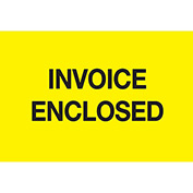 "Invoice Enclosed 3"" x 5"" - Bright Yellow / Black"