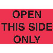 "Open This Side Only 3"" x 5"" - Fluorescent Red / Black"