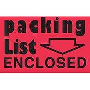 """Packing List Enclosed 2"""" x 3"""" - Fluorescent Red / Black"""
