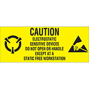 "Caution Electronics Sensative 1"" x 2"" 1/2 - Yellow / Black"