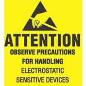 "Removable Attention Observe Precaution 2"" x 2"" - Yellow / Black Inverted"