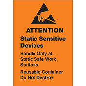 "Removable: Attn Static Sensitive 1 3/4"" x 2 1/2"" - Fluorescent Orange / Black"