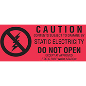 "Caution (Fluorescent) 1-1/2"" x 3"" - Fluorescent Red / Black"