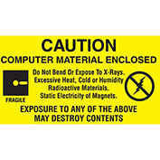 "Caution Comp. Mat Enclosed 1 1/2"" x 3"" - Yellow / Black"