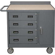 Durham 2211A-TH-LU-95  Mobile Bench Cabinet with 4 Drawers - Square Edge Shop Top