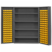 "Durham Storage Bin Cabinet DC48-128-4S-95 - 128 Hook-on Bins, 4 Shelves 48""W x 24""D x 72""H"