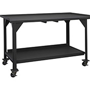 "Durham DWBM-3660-BE-95 60""W x 36""D x 39-1/2""H Mobile Work Bench - with Lips On 3 Sides"