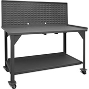 """Durham DWBM-3660-BE-LP-95 60""""W x 36""""D x 61-3/4""""H Mobile Work Bench - with Louvered Panel Top"""