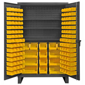 "Durham Bin Cabinet HDC48-134-3S95 - 12 Gauge With 134 Hook-On Bins & Shelves- 48""W x 24""D x 78""H"