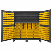 "Durham Bin Cabinet HDC72-192-3S95 - 12 Gauge With 192 Hook-On Bins & Shelves, 72""W x 24""D x 78""H"