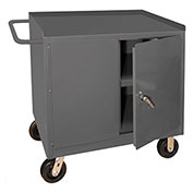 "Durham 3100-95 36""W x 24""D Mobile Bench Cabinet - 1 Shelf, Gray"