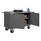 "Durham 3400-95 60""W x 24""D Mobile Bench Cabinet - 1 Shelf, Gray"