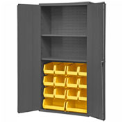 "Durham Welded Bin Cabinet 3602-BLP-14-2S-95 - 36"" Flush Door 14 Bins 2 Shelves"