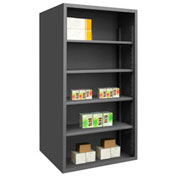 "Durham 5023-4S-95 Extra Heavy Duty/Enclosed Shelving 72"" x 24"" x 72"", 4 Shelf, Gray"