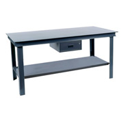 "Durham HWB-3648-95 48""W x 36""D Fixed Legs Workbench - Steel Square Edge, Gray"