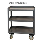 "Durham PSD-2430-3-D-95 24""W x 30""D Mobile Shop Desk w/Drawer - 3 Shelves, Gray"