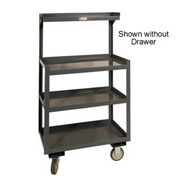 "Durham PSD-2430-4-D-95 24""W x 20""D Mobile Shop Desk w/ Drawer - 4 Shelves, Gray"