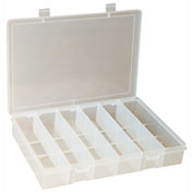Durham Small Plastic Compartment Box SP6-CLEAR - 6 Compartments, 6-3/4x6-3/4x1-3/4 - Pkg Qty 10