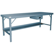 "Durham WBF-3696-95 96""W x 36""D Folding Leg Workbench - Steel Square Edge, Gray"