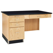 Diversified Woodcrafts Science Instructor Side Desk with Drawers - Oak with Epoxy Top