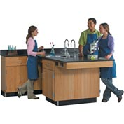 Four Student Perimeter Workstation with Door/Drawer Cabinets